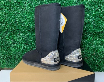 Genuine Australian Sheepskin Ugg Boots embellished with Crystals.