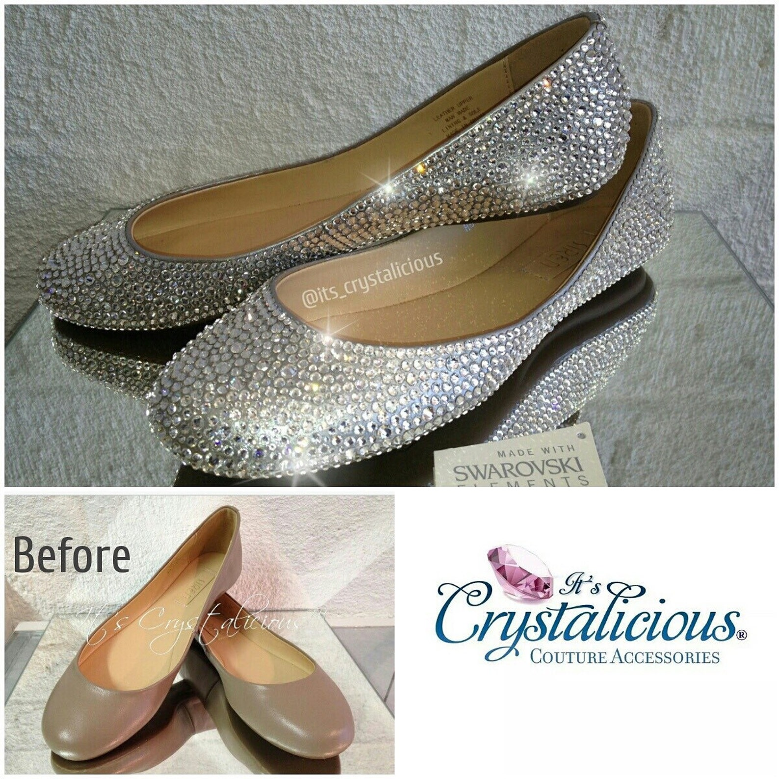 send your ballet flats to be embellished with genuine crystals from swarovski®.