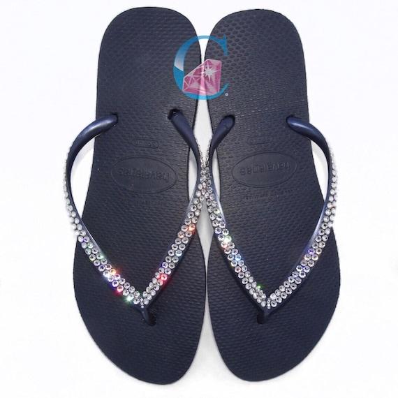 d7b9a507df377 Black Havaianas Covered In SWAROVSKI Crystal Bling Flip Flops