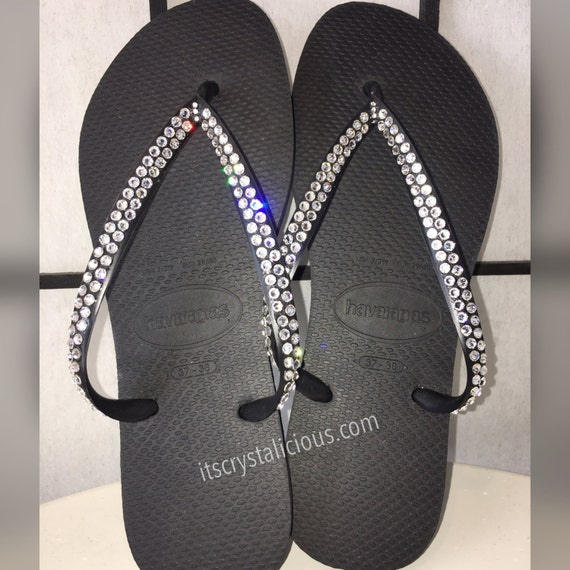 Clear In Havaianas Bling Black Crystal Flip Covered Flops Crystal SWAROVSKI zF7Pwngq