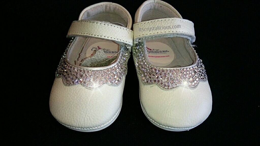 Genuine Leather Flowergirl Swarovski Crystal embellished Bling Baby Christening Flowergirl Leather Shoes Booties Shoes 302bd5