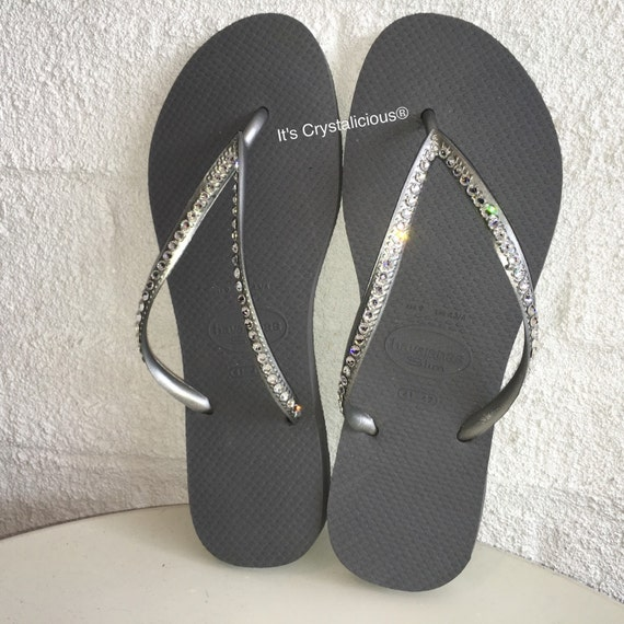 49862d52842e6 Silver Thin Strap Havaianas Covered In SWAROVSKI Crystal Bling