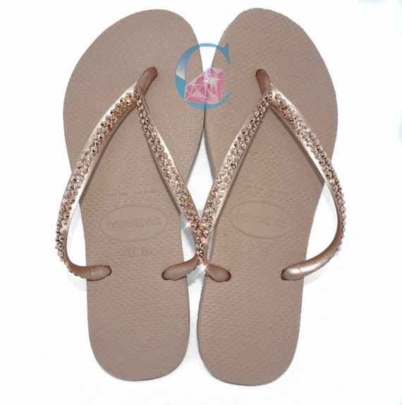 27b1ff01301 Rose Gold Thin Havaianas Covered In SWAROVSKI Crystal Bling