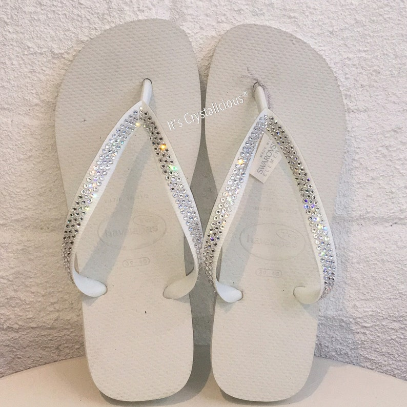 8c4d47eb65db0 White Thick Strap Havaianas Covered with SWAROVSKI Crystal