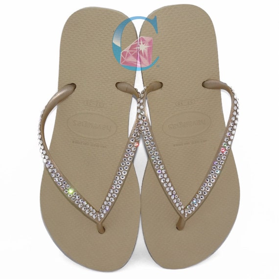 eaaba5fa4bd7d0 Gold Havaianas Covered In SWAROVSKI Crystal Bling Flip Flops.
