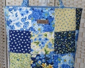 Patchwork bag, Moda 39 Summer Breeze 39 fabrics. Blue yellow. Quilted shoulder tote, knitting, project bag, festival, student. W16 quot x H13 quot