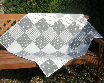 """Grey & white quilt. 43"""" x 36"""". Gender neutral. 100% cotton. Stars, dots, stripes, checks. Dotty grey backing. Baby gift. Ready to ship."""
