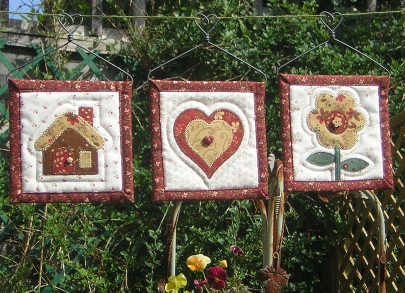 Mini quilts wall hangings with heart hanger inch cm etsy