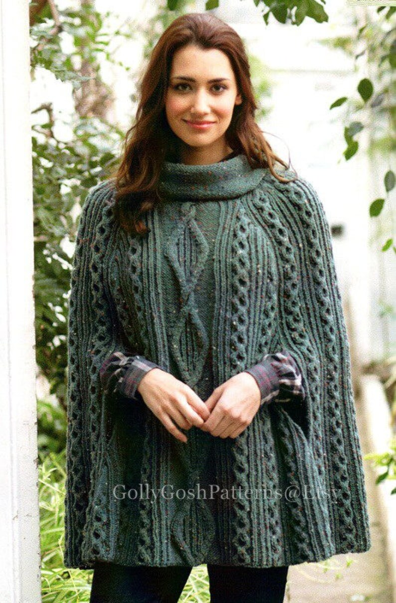 PDF Knitting Pattern Ladies Cabled Poncho or Cape in Aran  ed8e8afba