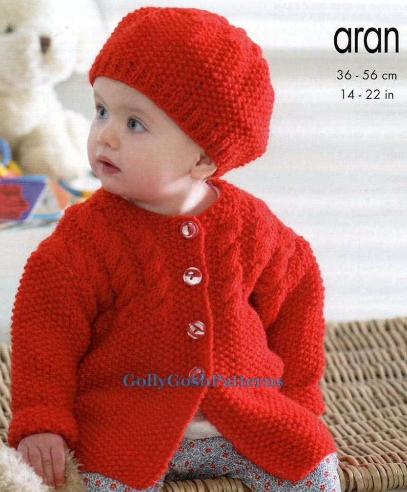 7093f384a6970 PDF Knitting Pattern Aran Jacket Cardigans Beret   Hat to