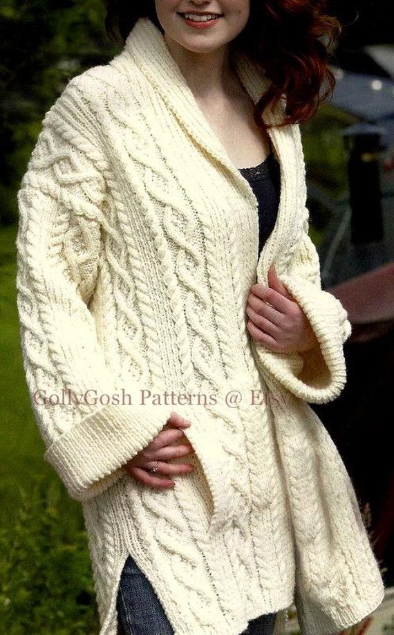PDF Knitting Pattern Ladies Shawl Collared Aran Coat  cfa12719e