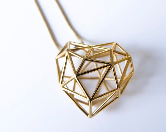 Featured listing image: Gold 3D Printed Heart Necklace