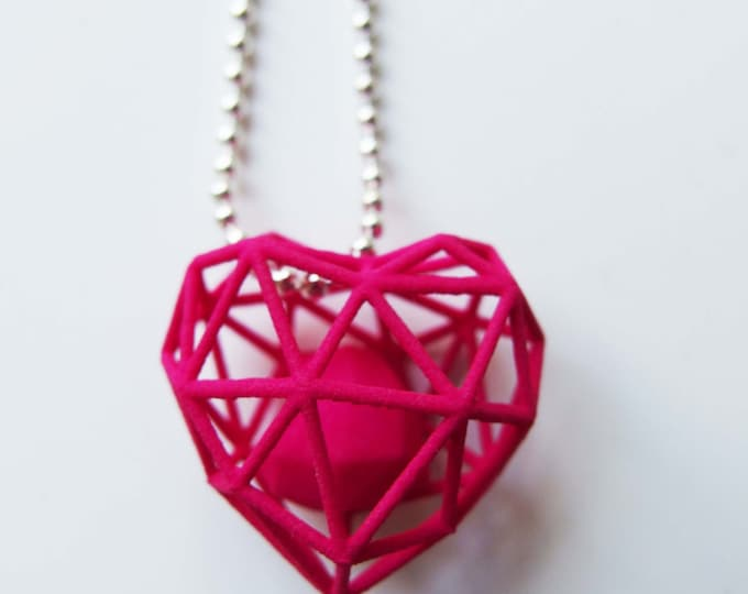 Featured listing image: 3D printed wireframe heart necklace - Pink