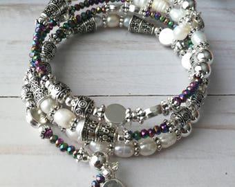 Wanderlust | Freshwater Rice Pearl + Electroplate Glass Memory Wire Bracelet