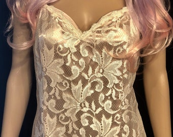 Stunning Cream Champagne Lace Full Length Formal Dress | Size 12