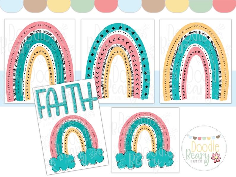 Funny Rainbow Clipart Digital Download Printable Invitations image 0