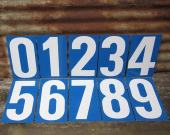 Vintage Gas Station Metal 2-Sided 1960/'s Gas Sign Price Numbers White w//Blue 5//6
