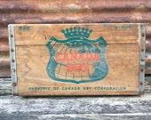 Vintage Wood Crate Beverage Delivery Box Canada Dry Crown Green Red Ginger Ale 1966 Vintage Display Aged Stenciled Label Display Storage