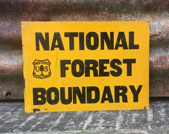 "Property Boundary National Forest Vintage Rustic Retro Metal Sign 8/"" x 12/"""
