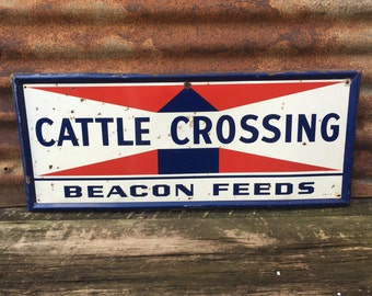 """WAYNE FEEDS Cattle Crossing Vintage Look Reproduction 9/""""x12/"""" Aluminum Sign"""