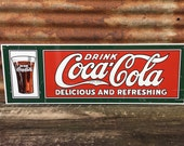 Vintage Coca Cola Tin Sign Coke Metal Sign Large 12x36 Inch Nice Metal Soda Sign