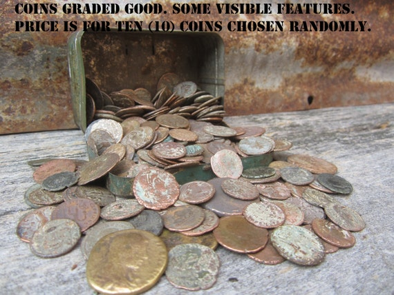 TEN (10) Good GRADE Authentic Ancient World Coins Greek Roman Bronze Metal  Coins 1000 Years European Excavated Jewelry Art Collection Crafts
