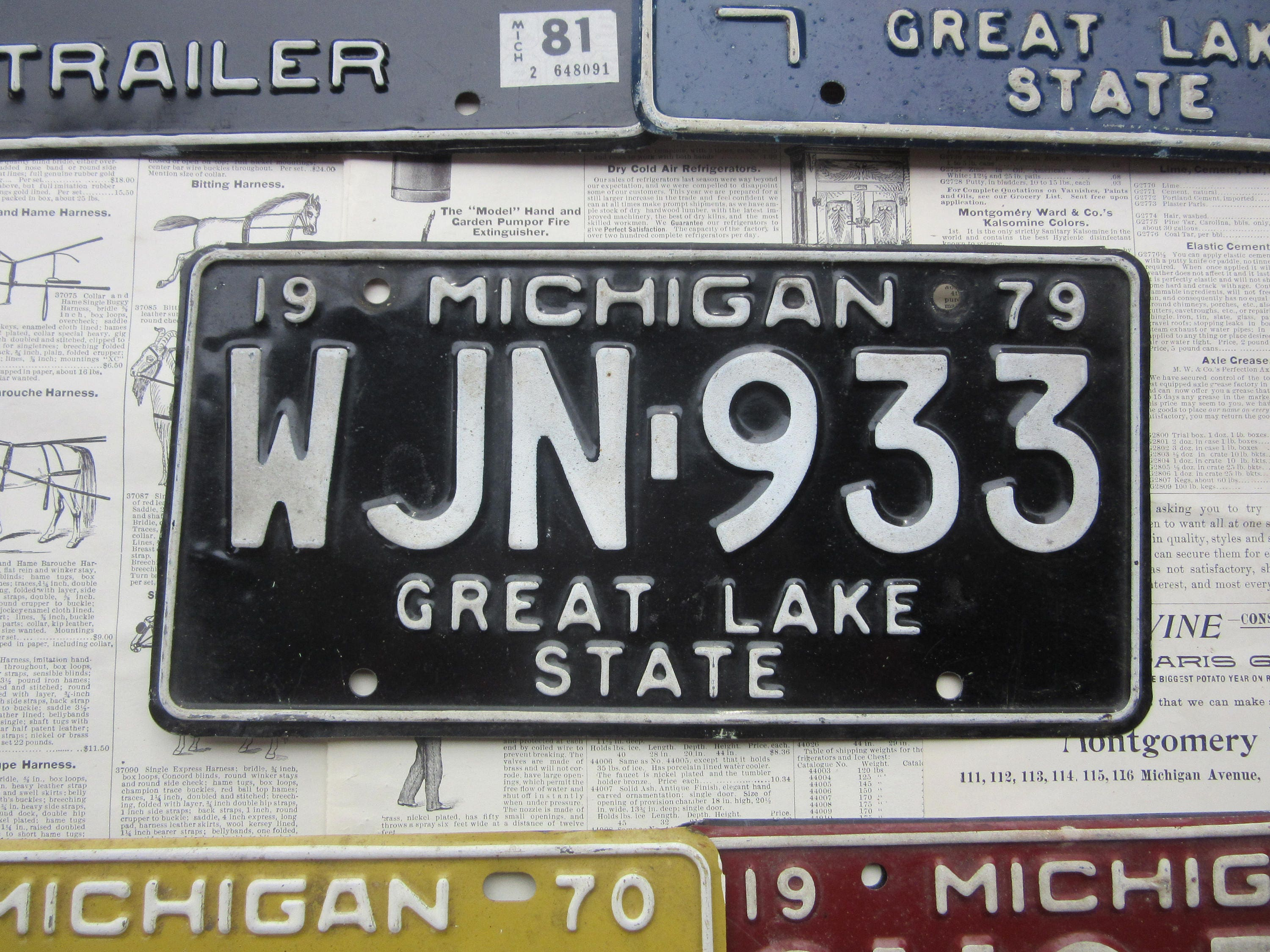 Vintage Original Michigan License Plate 1979 Black White Mi License Plate Tag Metal Car Auto Vtg Numbers Letters Distressed Old Wall