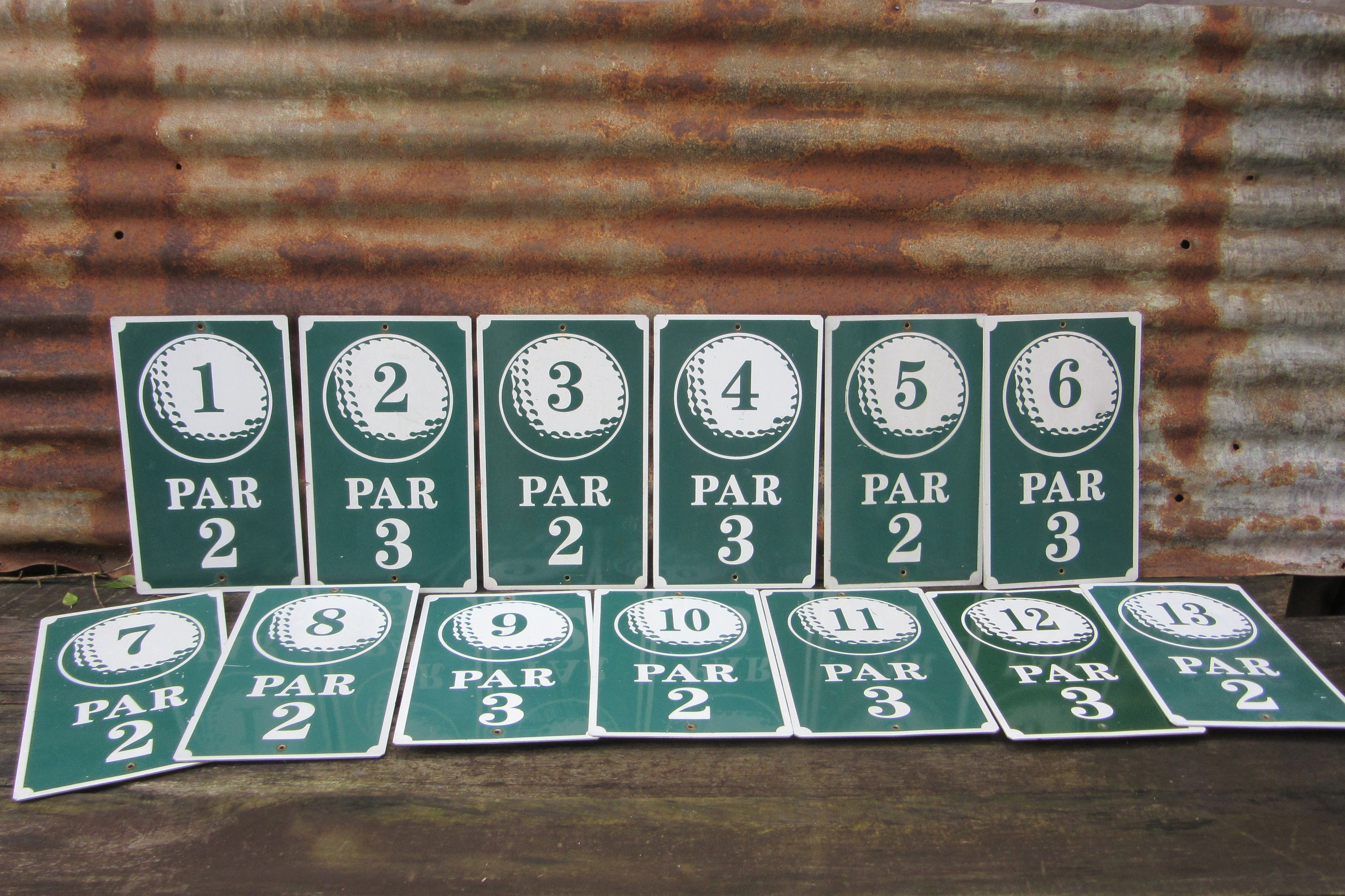 Vintage Metal Golf Course Hole Signs Miniature Golf Hole Numbers Par Sign  Old Golf Course Game Room Sports Room Decor Unique Green and White