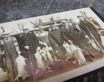 Vintage Photograph 1920s Group of Men Rabbit Hunters Hunting Photo Shotguns and Dead Rabbits Snapshot Posing Antique Picture Vintage Photo
