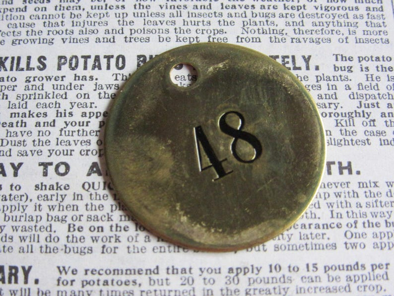 Number Tag Charm Brass Number 48 Tag 1 12 Inch Shiny #48 Tag Vintage Tag Industrial Identification Tag Lucky Number House Number Keychain