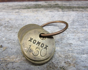 Lot of 10 Number Tags XOMOX Charm Brass Number 150 Aged VTG  Brass Tags Factory Industrial Garage Farm Industrial Tag Lucky Number Keychain