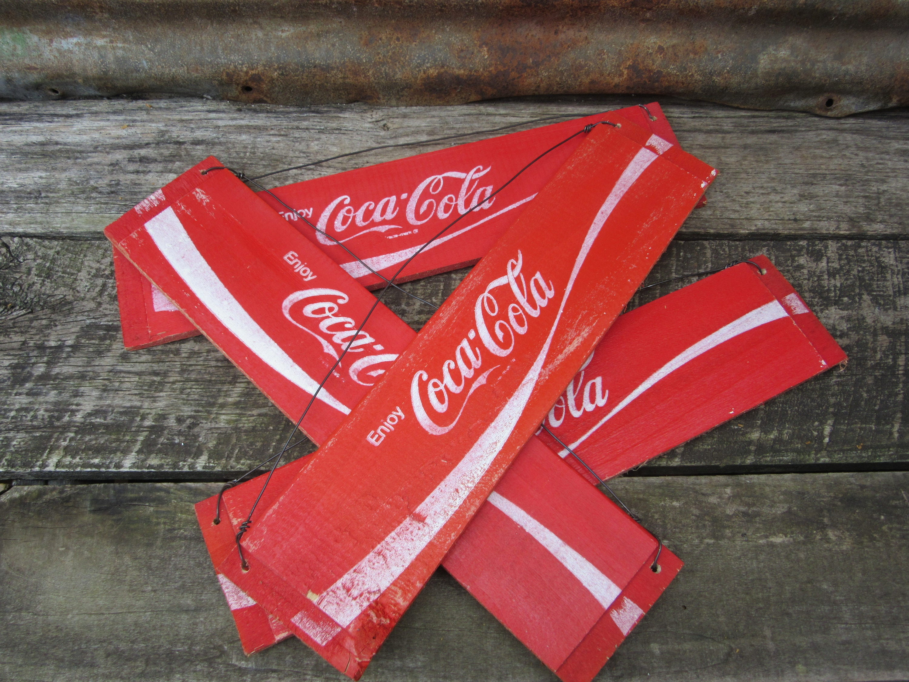 Vintage Wood Sign Coca Cola Coke Red and White NOS New Old