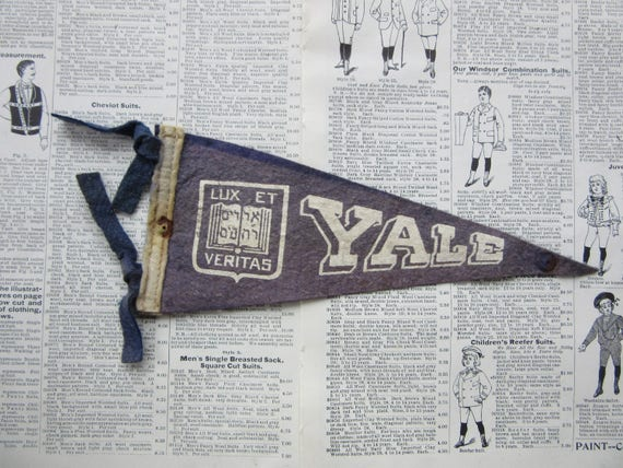 Vintage College Pennant YALE University Small 9 x 4 Inch Aged Distressed  Felt 1960s School Pennant Flag Dorm Collectible Sports B