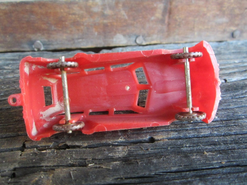Vintage Plastic Toy Car Red Station Wagon Car 1950s Era Old Fashion Retro Toy Car Old Toys Vintage Toy Art Deco Look Miniature Toy Car