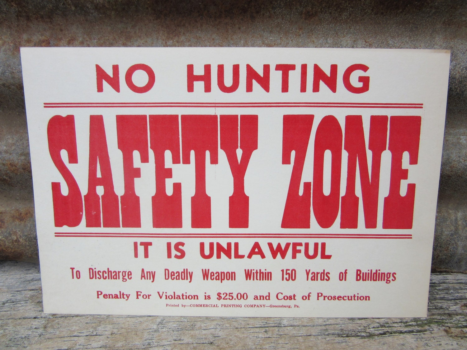 Vintage Cardboard Sign No Hunting Safety Zone Red Pennsylvania Game  Commision 1960s Era Sign Hunting Vintage Cardboard Card Stock Sign