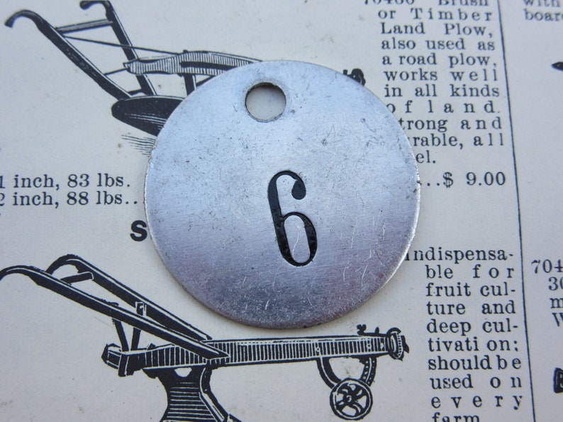 Number 6 Tag Charm Aluminum ID Tag #6 Shiny Metal Tag Vintage Numbered Tag Old Industrial Charm Lucky Number House Number Keychain Fob Tag