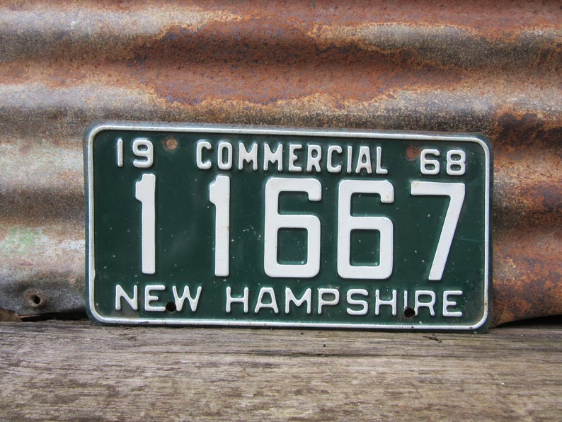 Vintage New Hampshire License Plate 1968 Green & White Commercial 1960s Old  Rusty Metal License Plate Tag Garage Car Truck Vintage Plate