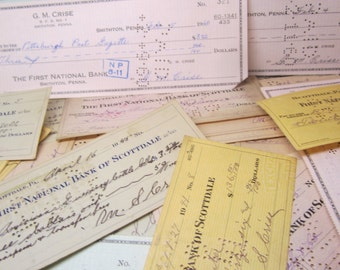 25 Randomly Chosen Vintage & Antique Checks Bank Notes Antique Paper Ephemera Smithon PA Scottdale Pa Antique Paper for Art or Collection