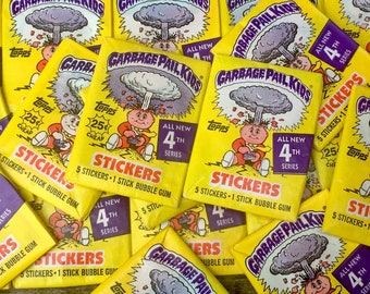 Vintage Garbage Pail Kids 1 Pack Sticker Cards Topps 1986 Series 4-Unopened Pack of Cards 80s 4th Series GPK Collectible Cards 1980s VTG