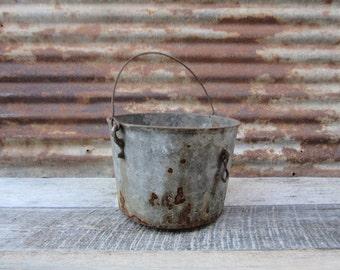 Antique Cast Iron Kettle Baled Handle Pot with Dumping Bracket on side Heavy Metal Bowl 1800s Era Primitive Rustic Antique Old Stew Pot vtg