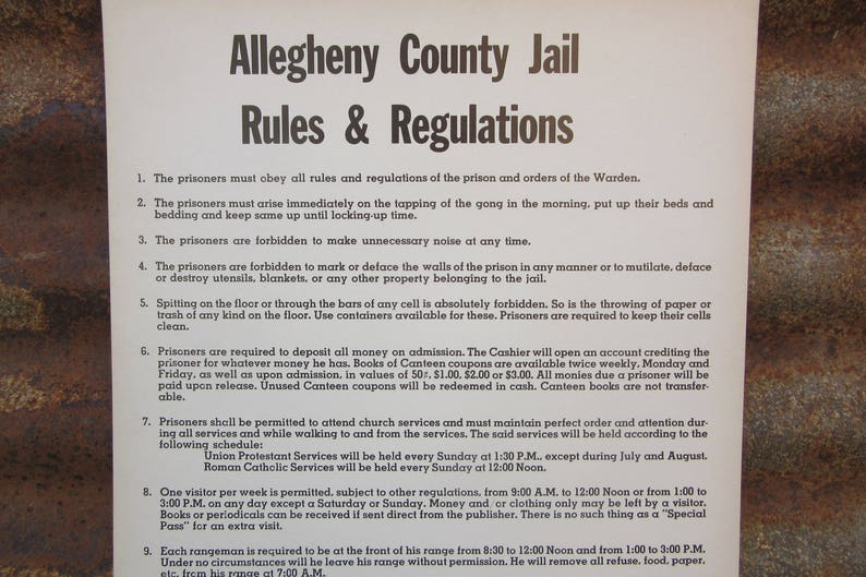 Price per Sign Original Vintage Cardboard Poster Allegheny County Jail  Rules & Regulations 1950s Era Prisoner Pittsburgh NOS New Old Stock