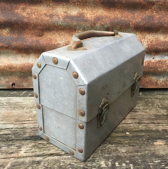 Vintage Metal Lunch Box Distressed Old School Miners Bucket Coal Mining Coal Mine Factory Worker Lunch Box Antique Metal American Industry