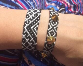Black and White Studded Friendship Bracelets