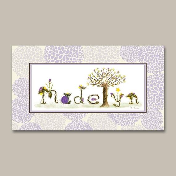 Lavender Flower Baby Girl Nursery Decor Gift Name Sign
