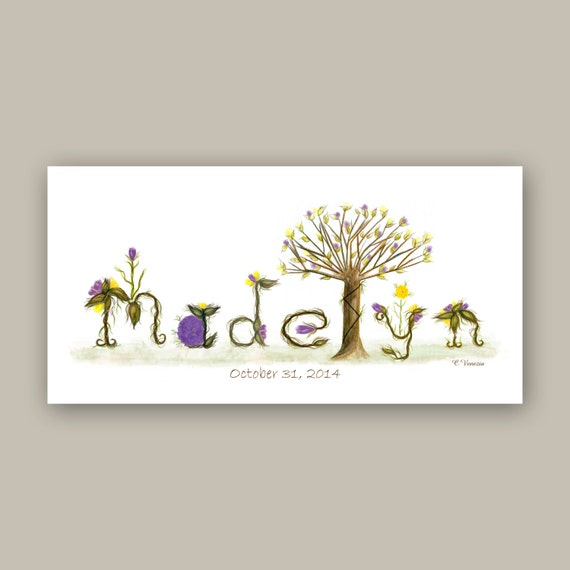 Unique Gift Nursery Decor Name Sign - Shabby Chic Nursery Wall Art - Name Signs for Kids Rooms - Ready to Hang Canvas Art Print, Purple
