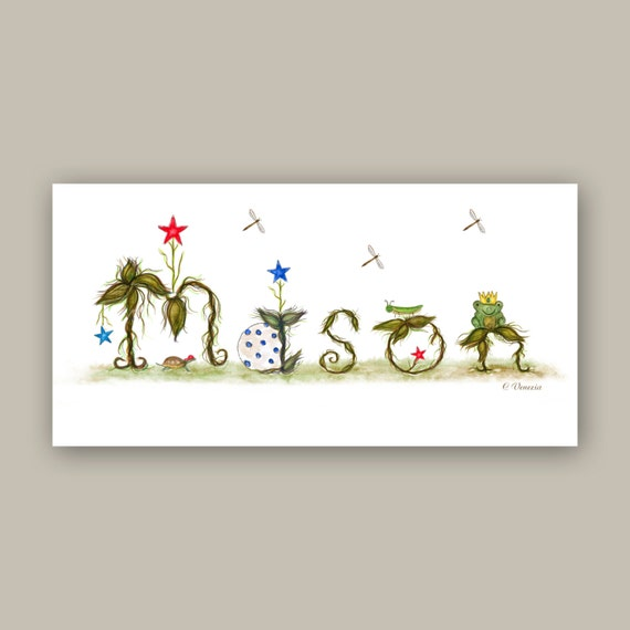 Woodland Nursery Decor - Personalized Gift - Custom Name Sign Wall Decor - Baby Boy Room Decor Illustration Prints - Red, Blue, Green