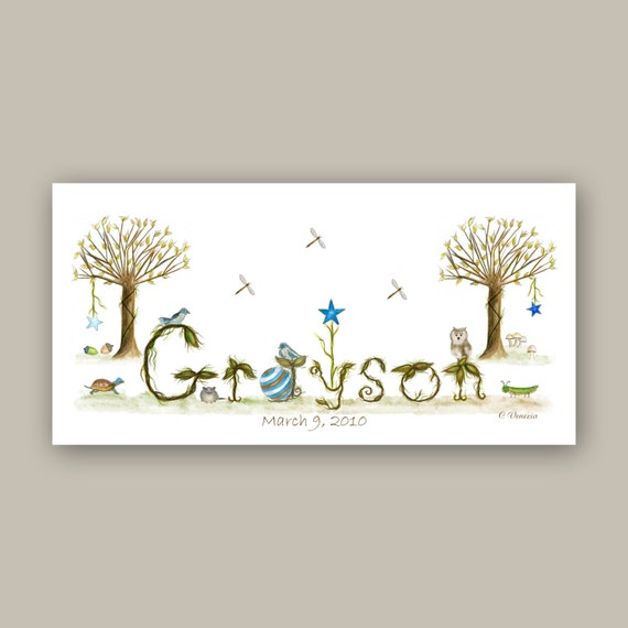 Custom Woodland Nursery Decor Name Sign - Boys Nursery Watercolor Painting Canvas Print - Unique Newborn Baby Gift, Blue, Brown, Green