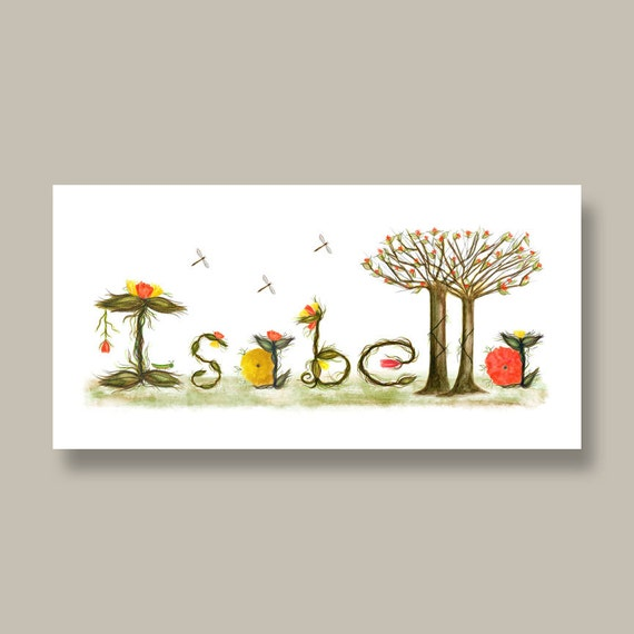 Name Sign Custom Baby Name Gifts - Baby Nursery Name Sign - Personalized Nursery Name Sign Art Print - Yellow, Orange Flowers