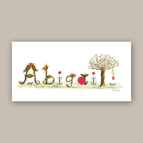 Custom Name Sign Decor - Custom Baby Name Gifts - Baby Name Signs for Wall Art Print - Name Sign for Nursery - Yellow, Red, Orange Flowers