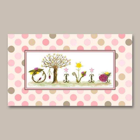 Polka Dot Custom Girl Nursery Decor Name Sign